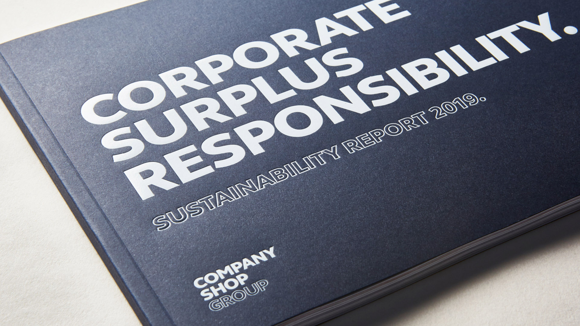 Corporate Surplus Responsibility report cover sirio dark blue