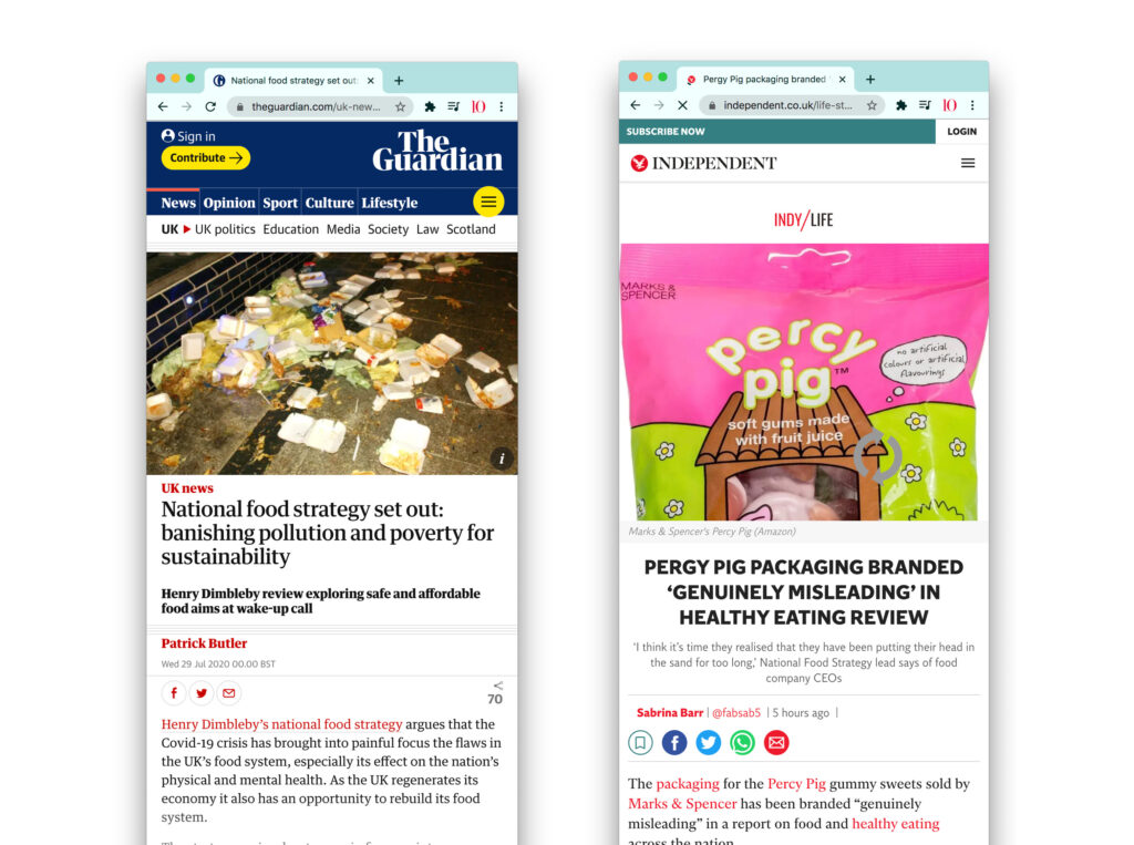 National Food Strategy Report press coverage