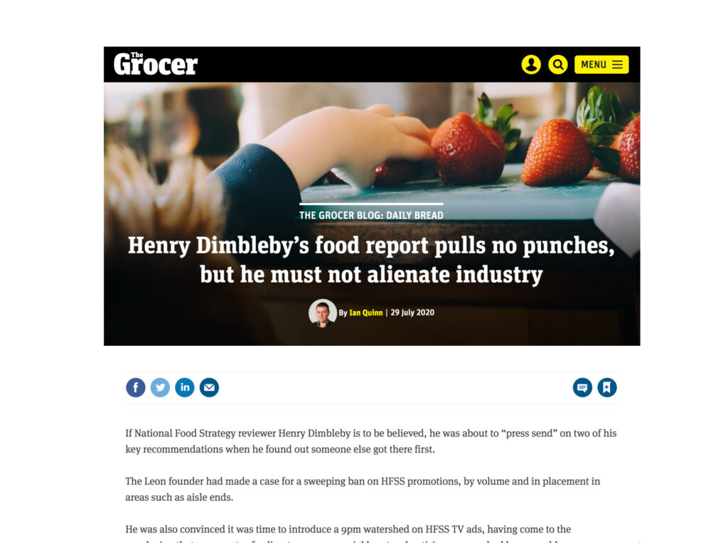National Food Strategy Report featured in The Grocer